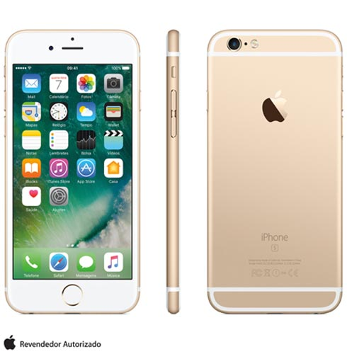Iphone 6s Dourado, Com Tela de 4.7 4g, 128 Gb, e Câmera de 12 Mp - Mkqv2br/a - Aemkqv2bradrd Bivolt